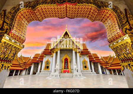 Temple de marbre de Bangkok, Thaïlande. Banque D'Images