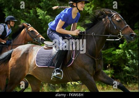Vue latérale du cheval girl smiling Banque D'Images