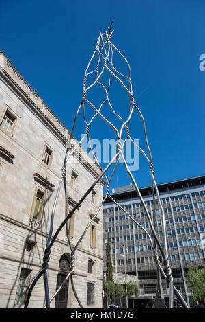 Les Castellers Monument tour à Plaça de Sant Miquel, district de Ciutat Vella de Barcelone, Espagne Banque D'Images