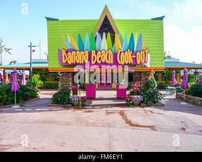 Plage de Banana cook-out, Aquatica, en Floride. Banque D'Images