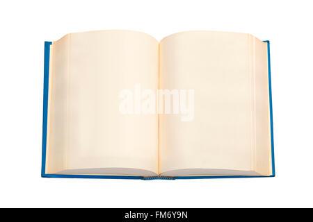 Un livre ouvert avec couvercle bleu et des pages vides Banque D'Images
