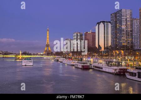 France, Paris, les rives de la Seine, quartier Front de Seine, quai André Citroën et la Tour Eiffel lumineuse (© Banque D'Images