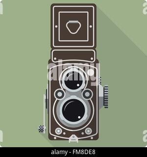 Retro design plat de l'icône vintage twin lens reflex appareil moyen format Banque D'Images