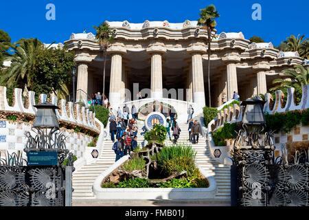 Espagne, Catalogne, Barcelone, Parc Guell par l'architecte Antoni Gaudi Banque D'Images