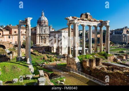 L'Italie, Lazio, Rome, centre historique classé au Patrimoine Mondial de l'UNESCO, le Forum Romain et l'Arc de Septime Banque D'Images