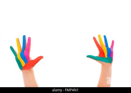 Mains peint sur fond blanc Banque D'Images
