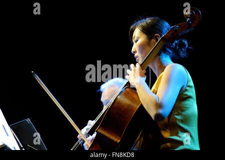 BARCELONA - 31 MAI: Kronos Quartet (Quatuor à cordes américain), concert au Primavera Sound 2014 Heineken. Banque D'Images