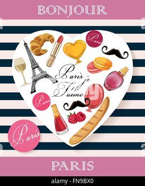 Bonjour Paris. Je Paris John corabi - Texte en français. Bonjour Paris. Paris, je t'aime! Banque D'Images