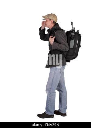 Backbag photographe avec trépied et walking isolé sur fond blanc Banque D'Images