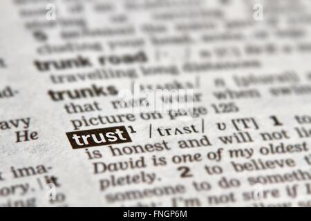 Trust mot Texte de définition dans le dictionnaire Page Banque D'Images