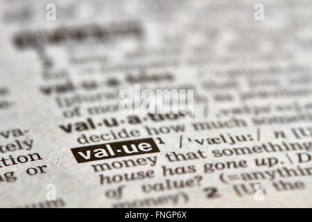 Valeur Word Texte de définition dans le dictionnaire Page Banque D'Images