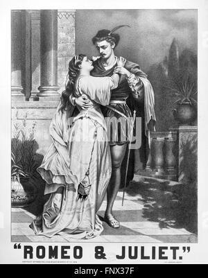 Une 19thC affiche publicitaire de Shakespeare's 'Roméo et Juliette'. Studio Litho métropolitaine, 1879. Banque D'Images