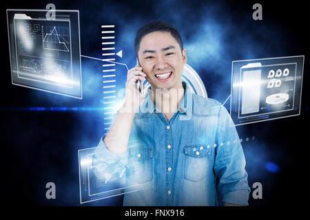 Image composite de man holding smartphone