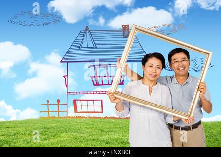 Image composite de l'older asian couple avec cadre Banque D'Images