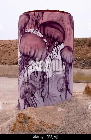 Peintures sur béton tuyau en Pilar de la Horadada Banque D'Images