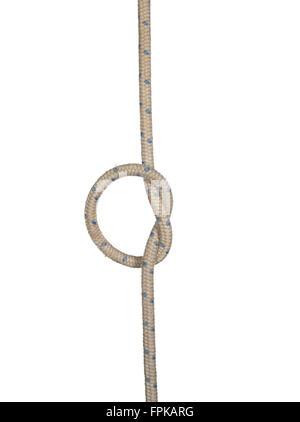 Noeud décoratif de cordon épais isolé sur fond blanc. Banque D'Images