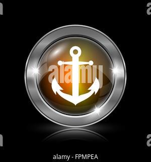 L'icône d'ancre. Bouton internet métallique sur fond noir. Banque D'Images