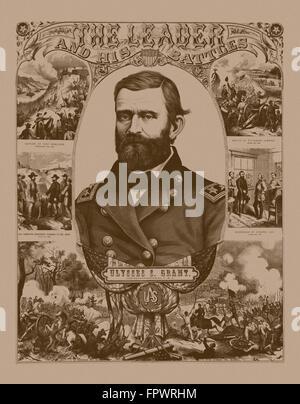 Vintage poster guerre civile du Général Ulysses S. Grant portant son uniforme militaire. Il est entouré par des Banque D'Images