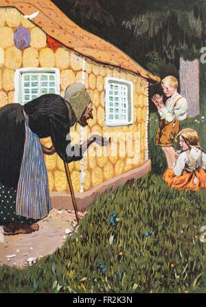 'Hänsel und Gretel '. Illustration d'un conte de fées des frères Grimm Livre publié dans les années 1920. Banque D'Images