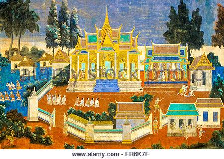 Peintures murales représentant des scènes de l'ancien epic Reamker (Ramayana) à la Pagode d'argent (Wat Preah Keo Banque D'Images