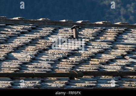 Toit de chalet traditionnel en Alpes européennes fait de pierres brutes Banque D'Images