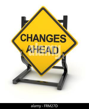 Panneau routier écrit sur les changements à venir Banque D'Images