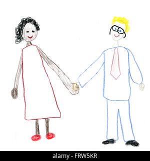 Dessin De L Enfant Couple De Race Mixte Banque D Images Photo Stock