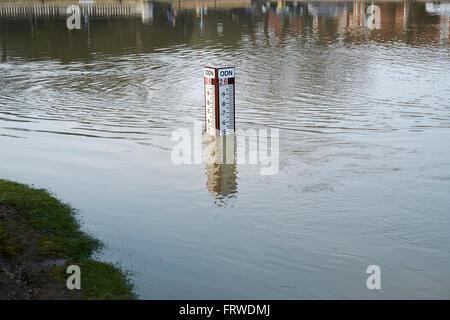 Une jauge de niveau de la rivière mesure la hauteur d'eau qui coule dans la rivière Great Ouse, Bedford, Bedfordshire, Banque D'Images