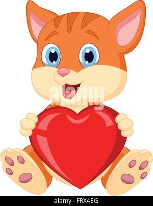 Cartoon cat holding red hart Banque D'Images