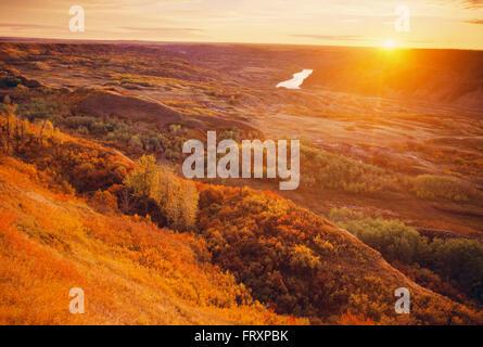 Lever de soleil sur l'île sèche Buffalo Jump Parc Provincial en automne, Alberta, Canada Banque D'Images