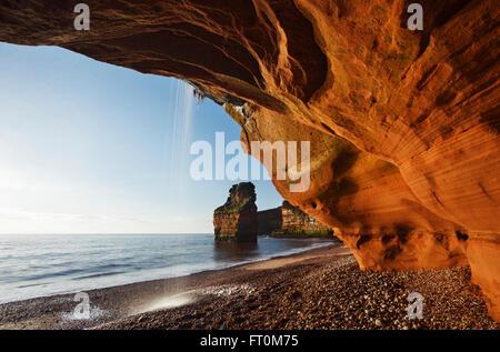 Ladram Bay. La Côte Jurassique, site du patrimoine mondial. Devon. UK. Banque D'Images