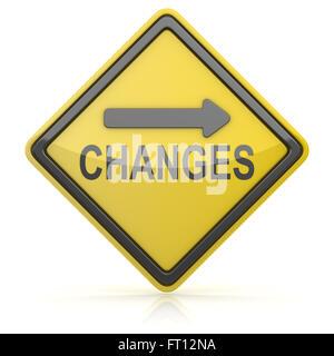 Panneau routier - Changements à venir Banque D'Images