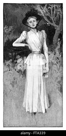 Gravure en noir et blanc d'une dame victorienne dans un jardin. Banque D'Images