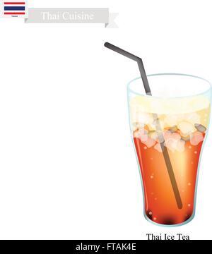 Thai cuisine Thai, Ice Tea servi avec du lait. L'un de la boisson la plus populaire en Thaïlande. Banque D'Images