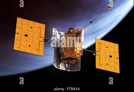 L'espace interplanétaire en orbite autour de la station de planète. Modèle 3D. Banque D'Images