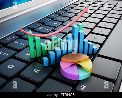 Tableaux financiers Comité permanent sur l'ordinateur portable Clavier d'ordinateur Banque D'Images