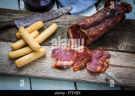 Tapas jambon ibérique et saucisse de l'Espagne 7343 Banque D'Images