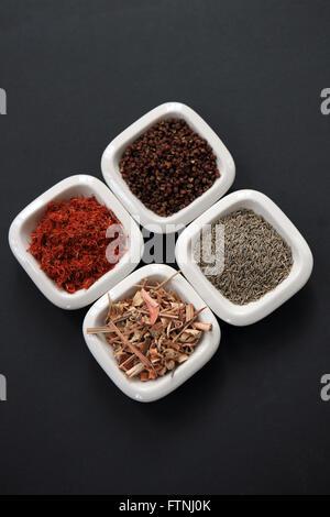 Épices en petits plats blanc Banque D'Images