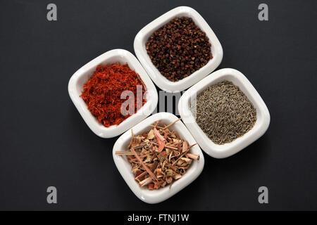 Épices en petits plats blanc, prêt pour l'ajout à la cuisson. Banque D'Images
