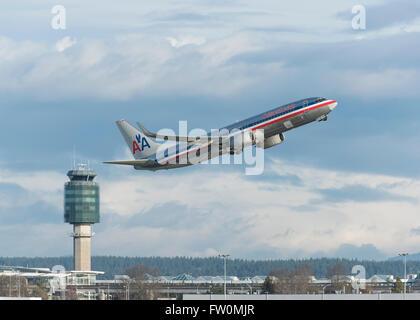 Boeing 737-823 d'American Airlines qui a décollé de l'Aéroport International de Vancouver YVR