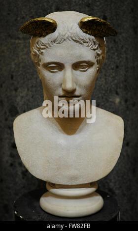 Chef de l'Hermes, dieu du commerce, gardien des routes et de messager des dieux. En. Travail de Romain. 2e ch. AD. Banque D'Images