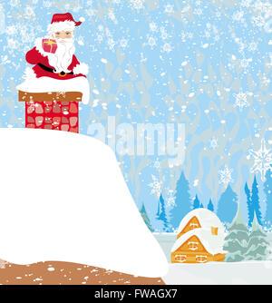 Père noël coincé dans la cheminée fait main 3D Pop-up drôle Carte de Noël