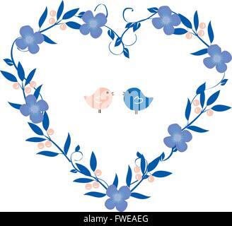 Vector illustration de couronne vintage coeur avec fleurs et oiseaux Banque D'Images
