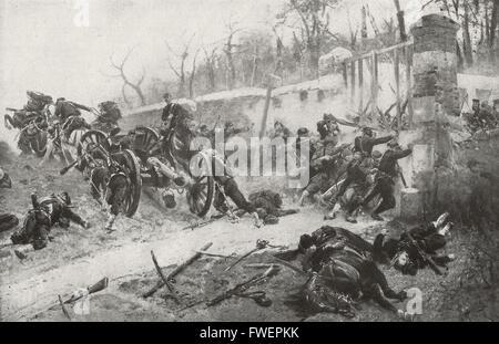 La défense de l'Longboyeau Gate durant le siège de Paris, Franco - guerre prussien, 1870 - 1871.