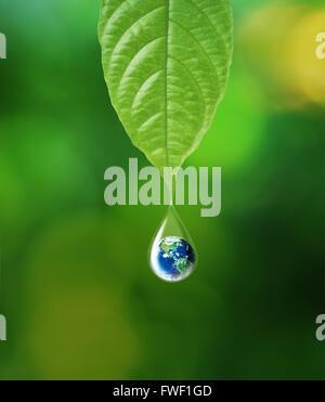 La terre en goutte d'eau dans le cadre de réflexion feuille verte, éléments de cette image fournie par la NASA Banque D'Images