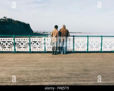 Vue arrière de gens debout sur la jetée par Beach Against Sky