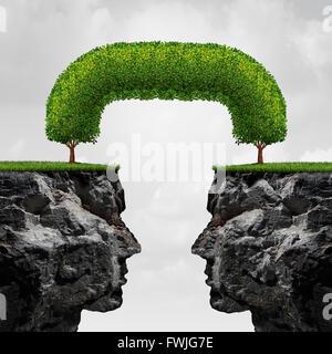 Connexion d'entreprise concept comme détaché deux falaises illustration 3D connectés ensemble par des arbres qui Banque D'Images