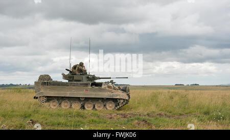 Un guerrier dans la plaine de Salisbury au cours de l'exercice Lion grève.
