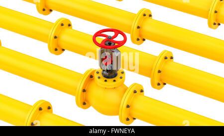 Rendre des tuyaux jaune avec un distributeur rouge, isolated on white Banque D'Images