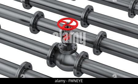 Rendre des tuyaux avec une valve, isolated on white Banque D'Images